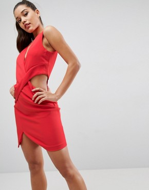 photo Deep Plunge Cut Out Dress by Kendall + Kylie, color Paprika - Image 1