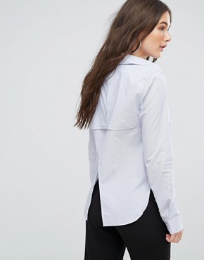 photo Open Back Stripe Shirt by Kendall + Kylie, color Blue White - Image 1