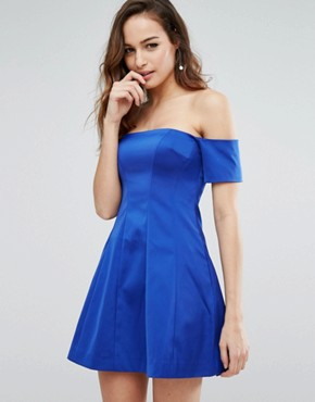 photo Off Shoulder Seamed Dress by Kendall + Kylie, color Blue - Image 1