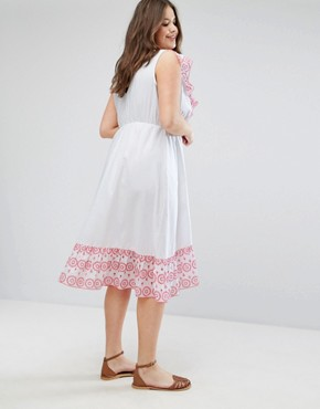 photo Midi Wrap Dress with Broderie Ruffle Trim by ASOS CURVE, color White - Image 2