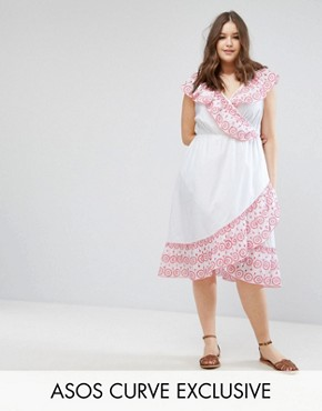 photo Midi Wrap Dress with Broderie Ruffle Trim by ASOS CURVE, color White - Image 1