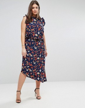 photo Maxi Tea Dress with Cut Out Back Detail in Grunge Floral Print by ASOS CURVE, color Multi - Image 2