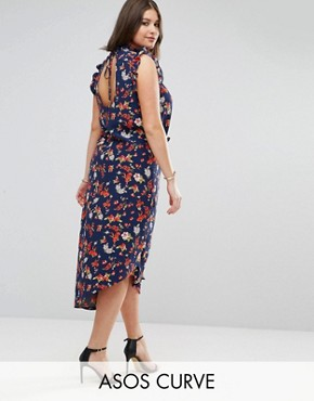 photo Maxi Tea Dress with Cut Out Back Detail in Grunge Floral Print by ASOS CURVE, color Multi - Image 1