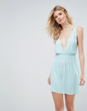 photo Cross Back Jersey Mini Beach Dress by ASOS TALL, color Pale Blue - Image 2