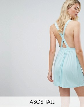 photo Cross Back Jersey Mini Beach Dress by ASOS TALL, color Pale Blue - Image 1