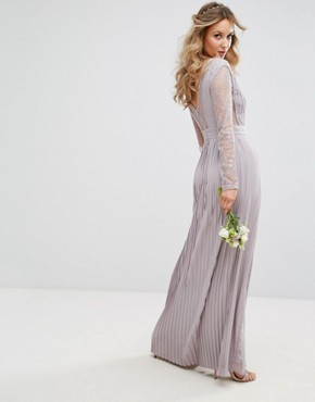 photo Pleated Maxi Dress with Long Sleeves and Lace Inserts with Embellished Waist by TFNC WEDDING, color Grey - Image 2