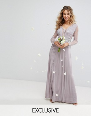 photo Pleated Maxi Dress with Long Sleeves and Lace Inserts with Embellished Waist by TFNC WEDDING, color Grey - Image 1