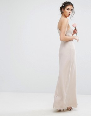 photo One Shoulder Maxi Dress with Frill Detail by TFNC WEDDING, color Mink - Image 2