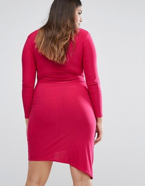 photo Slinky Wrap Dress by Club L Plus, color Pink - Image 2