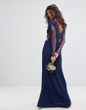 photo Pleated Maxi Dress with Long Sleeves and Lace Inserts with Embellished Waist by TFNC WEDDING, color Navy - Image 2