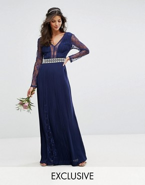 photo Pleated Maxi Dress with Long Sleeves and Lace Inserts with Embellished Waist by TFNC WEDDING, color Navy - Image 1