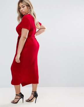 photo Plisse Dress with Waist Tie by Club L Plus, color Red - Image 2