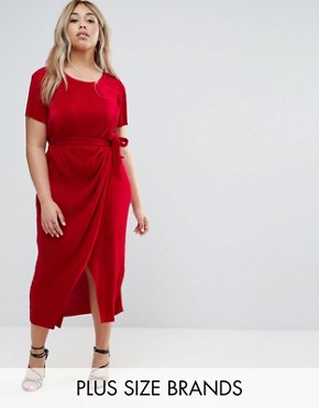photo Plisse Dress with Waist Tie by Club L Plus, color Red - Image 1