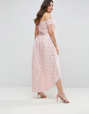 photo Lace Bardot Dress with Hi Lo Hem by Chi Chi London Plus, color Pink - Image 2