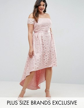 photo Lace Bardot Dress with Hi Lo Hem by Chi Chi London Plus, color Pink - Image 1