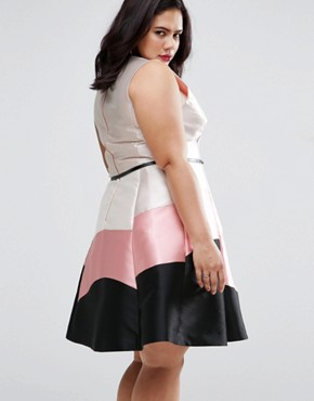 photo Sleeveless Colour Block Dress by Coast Plus, color Blush - Image 2