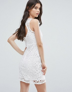 photo Mesh and Lace Pencil Dress by Miss Selfridge Petite, color White - Image 2