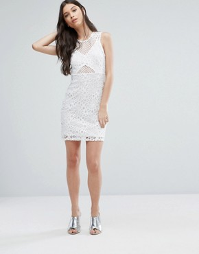 photo Mesh and Lace Pencil Dress by Miss Selfridge Petite, color White - Image 4