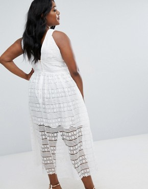 photo Lace Midi Skater Dress by Truly You, color White - Image 2