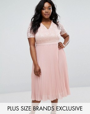 photo Lace Bodice Skater Dress with Pleated Skirt by Truly You, color Blush - Image 1