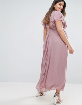 photo Frill Detail Chiffon Midi Dress by Truly You, color Lilac Grey - Image 2