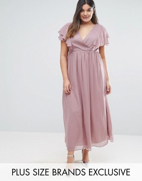 photo Frill Detail Chiffon Midi Dress by Truly You, color Lilac Grey - Image 1