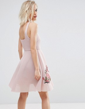 photo Embroidered Bonded Mesh Skater Dress by New Look, color Nude - Image 2
