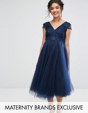 photo Floral Applique Bodice with Tulle Skirt by Chi Chi London Maternity, color Navy - Image 1
