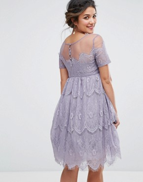 photo Lace Dress with Tulle Skirt by Chi Chi London Maternity, color Lavender - Image 2