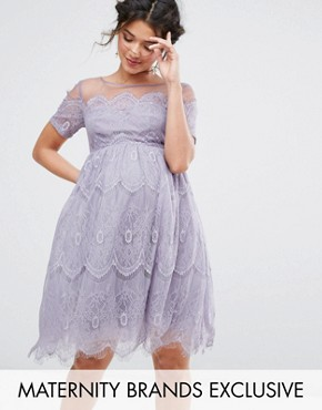photo Lace Dress with Tulle Skirt by Chi Chi London Maternity, color Lavender - Image 1