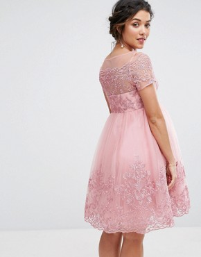 photo Embroidered Prom Dress with Tulle Skirt by Chi Chi London Maternity Premium, color Pink - Image 2