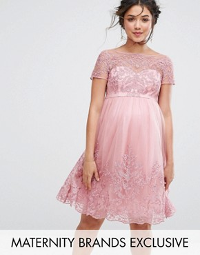 photo Embroidered Prom Dress with Tulle Skirt by Chi Chi London Maternity Premium, color Pink - Image 1