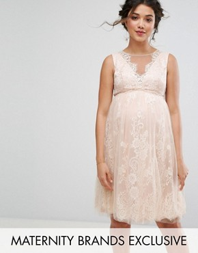 photo Floral Lace Applique Midi Dress by Chi Chi London Maternity, color Mink - Image 1