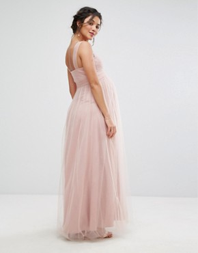 photo Knot Front Tulle Maxi Dress by Chi Chi London Maternity, color Mauve - Image 2
