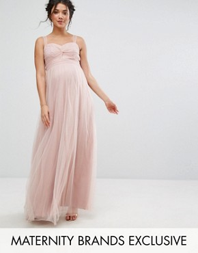 photo Knot Front Tulle Maxi Dress by Chi Chi London Maternity, color Mauve - Image 1