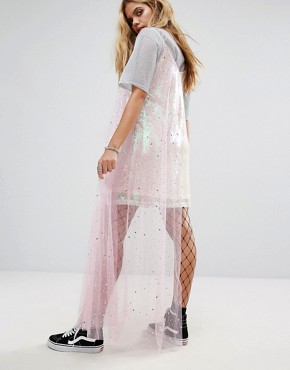 photo Cami Dress in Sequin with Sparkle Mesh Layer by Mad But Magic, color Pink Multi - Image 2
