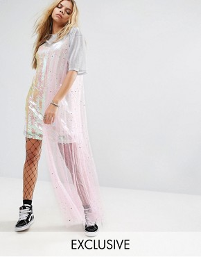 photo Cami Dress in Sequin with Sparkle Mesh Layer by Mad But Magic, color Pink Multi - Image 1