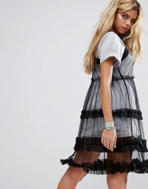 photo Mesh Dress with Chain Strap by Mad But Magic, color Black - Image 2