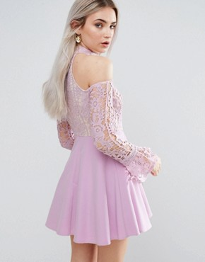 photo Cold Shoulder Lace Skater Dress by Missguided Petite, color Lilac - Image 2