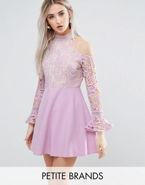 photo Cold Shoulder Lace Skater Dress by Missguided Petite, color Lilac - Image 1