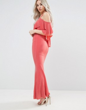 photo Maxi Dress with Frill Detail by City Goddess Petite, color Tangerine - Image 2