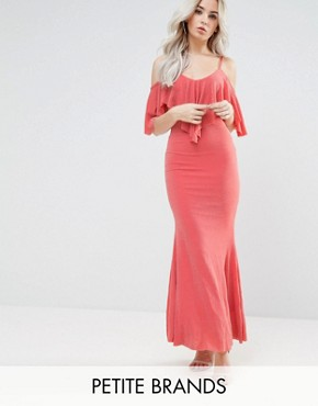 photo Maxi Dress with Frill Detail by City Goddess Petite, color Tangerine - Image 1