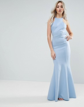 photo Maxi Dress with Bow Back by City Goddess Petite, color Sky Blue - Image 2