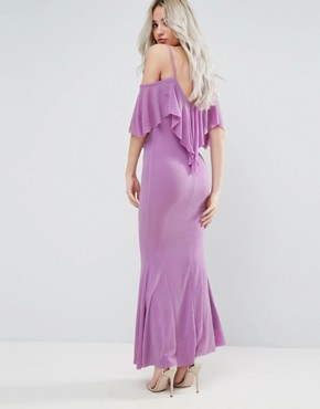 photo Maxi Dress with Frill Detail by City Goddess Petite, color Lilac - Image 2