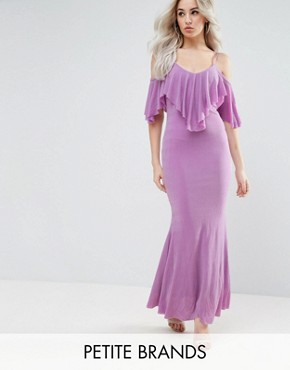 photo Maxi Dress with Frill Detail by City Goddess Petite, color Lilac - Image 1
