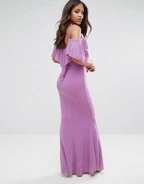 photo Maxi Dress with Frill Detail by City Goddess Tall, color Lilac - Image 2