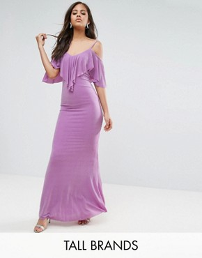 photo Maxi Dress with Frill Detail by City Goddess Tall, color Lilac - Image 1