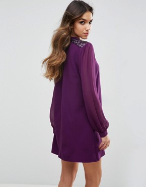 photo Long Sleeve Shift Dress by Traffic People, color Purple - Image 2