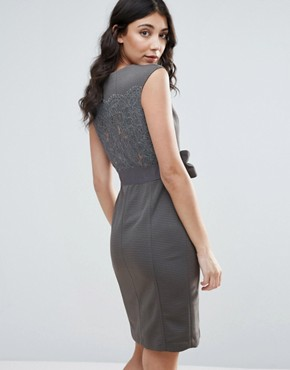 photo Pencil Dress with Bow Detail by Traffic People, color Grey - Image 2