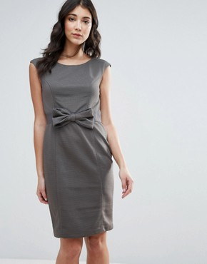 photo Pencil Dress with Bow Detail by Traffic People, color Grey - Image 1